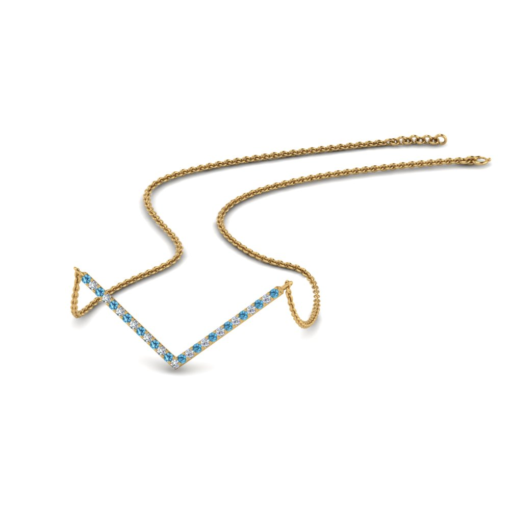 V Shaped Diamond Necklace With Ice Blue Topaz In 14K Yellow Gold