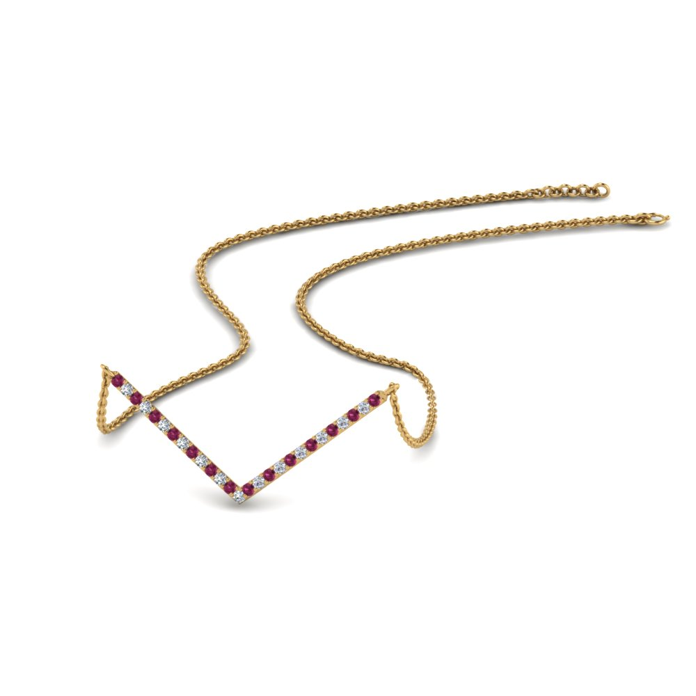V Shaped Diamond Necklace With Pink Sapphire In 14K Yellow Gold