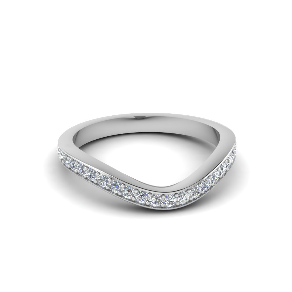 v shaped diamond wedding band in FD68070B NL WG
