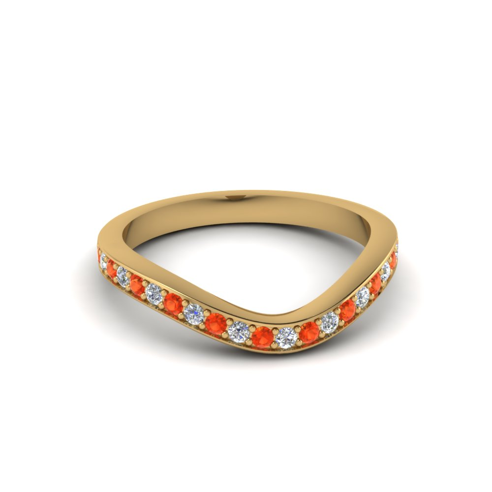 Curved Contour Orange Topaz Band