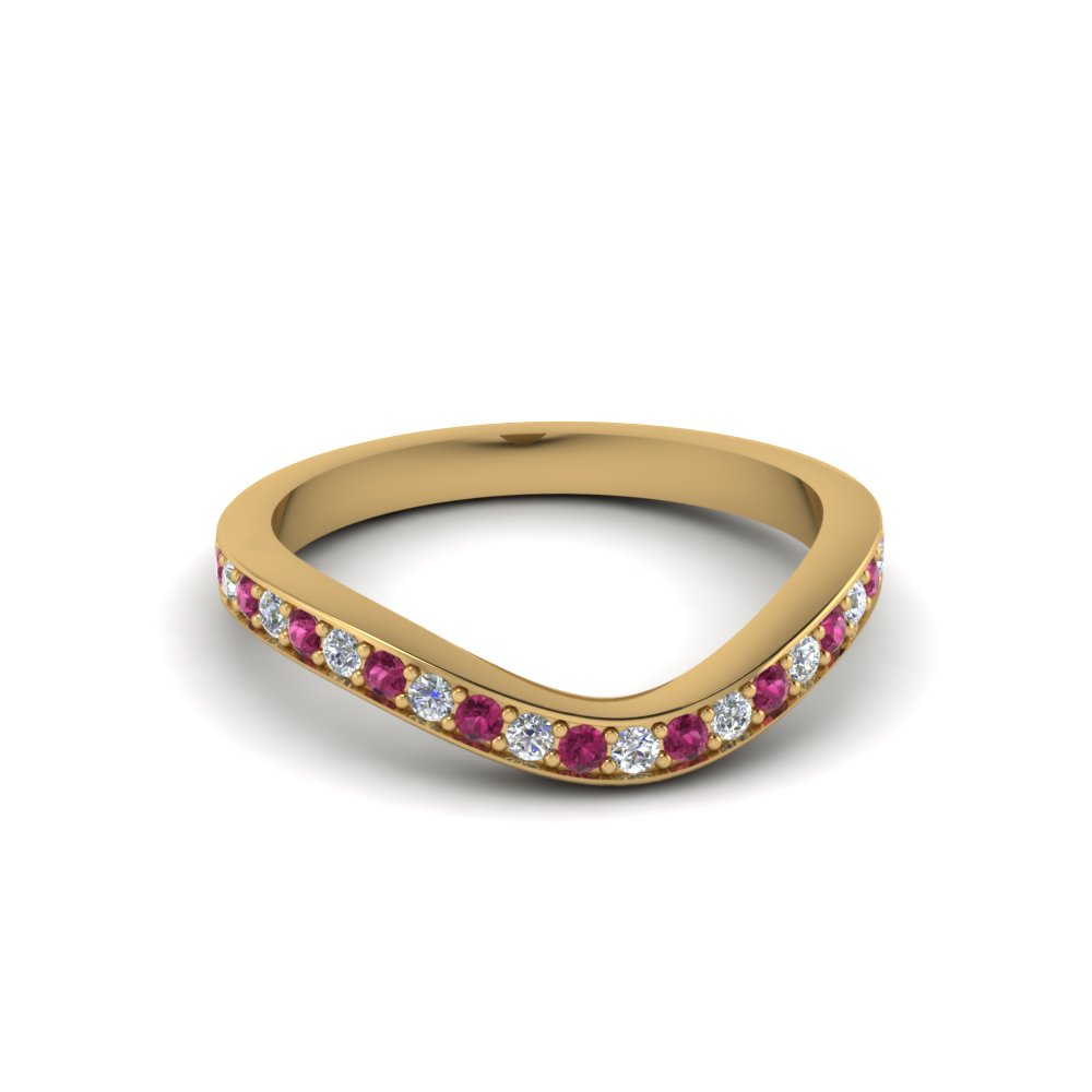 Pink Sapphire Curved Band