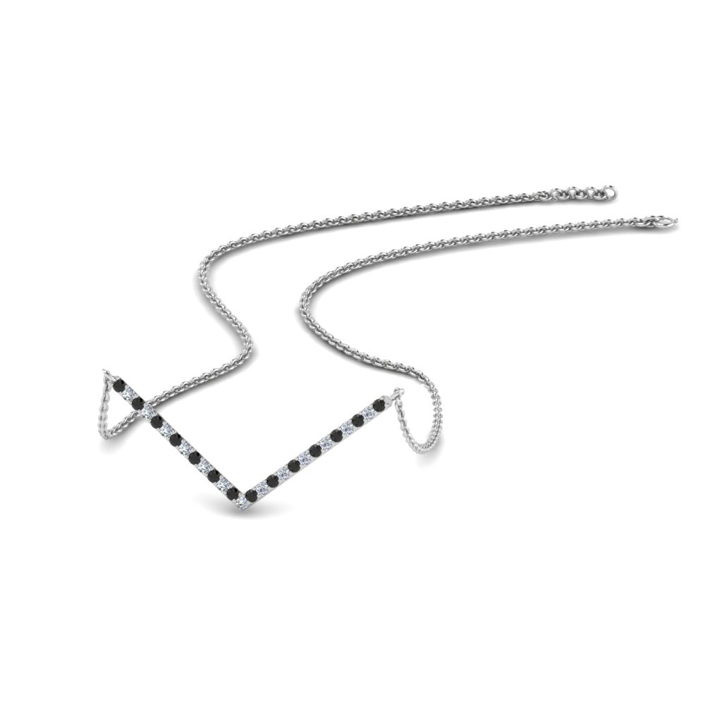 V Shaped Necklace With Black Diamond In 14K White Gold