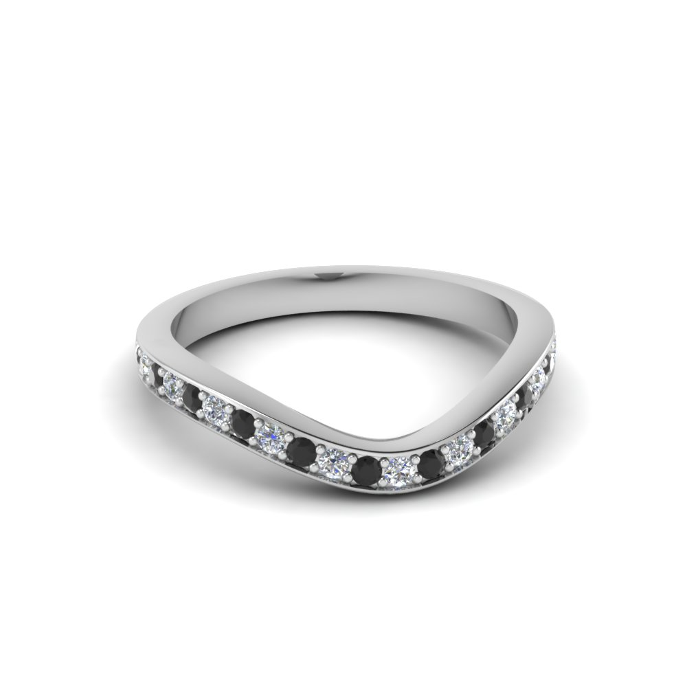 V Shaped Wedding Band With Black Diamond In 18K White Gold
