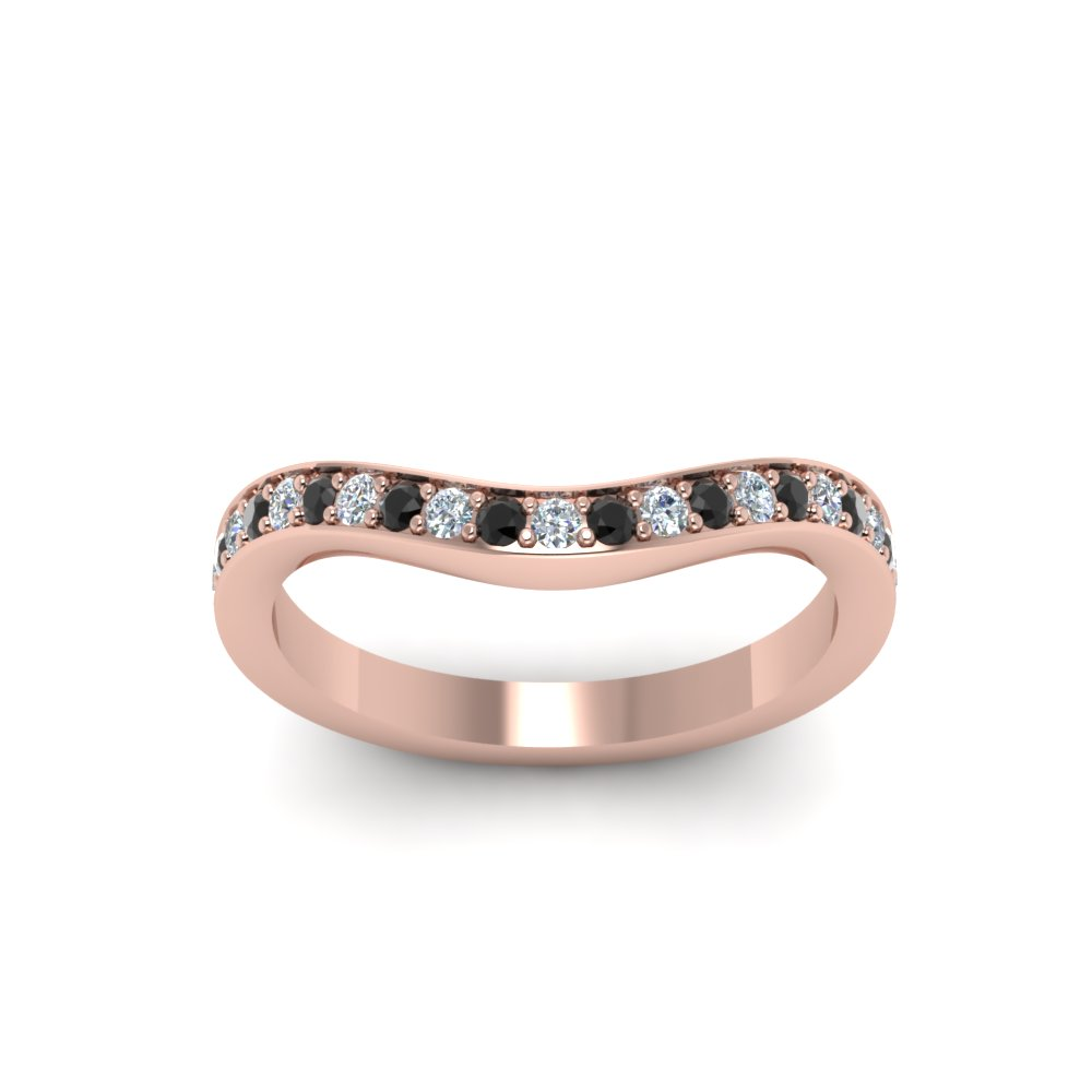 V Shaped Wedding Band With Black Diamond In 14K Rose Gold