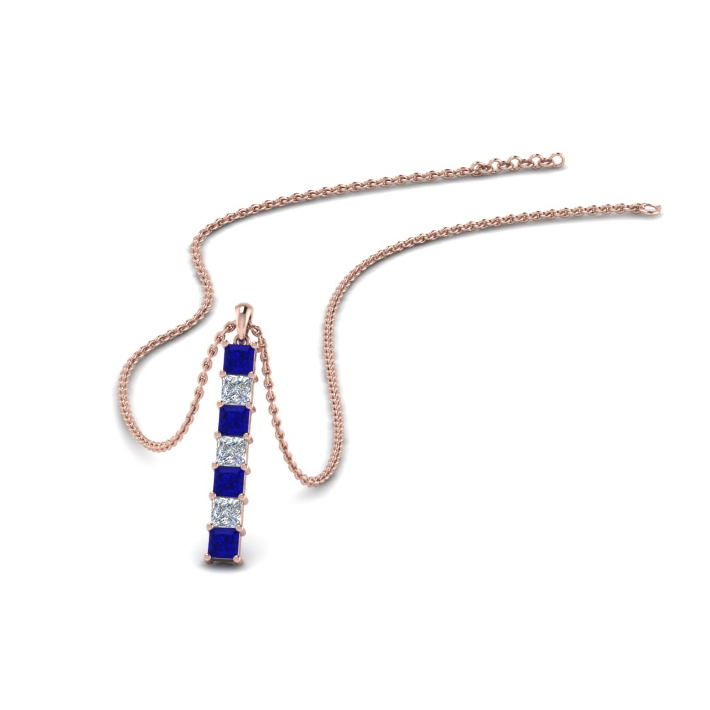 vertical bar necklace seven princess cut diamond with blue sapphire in FDPD8416GSABL NL RG