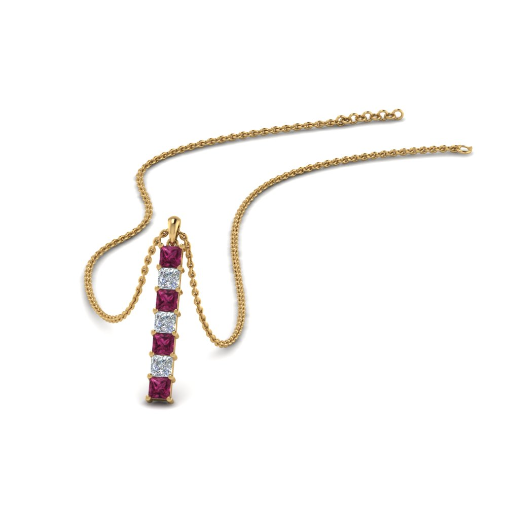 vertical bar diamond necklace with pink sapphire in FDPD8416GSADRPI NL YG