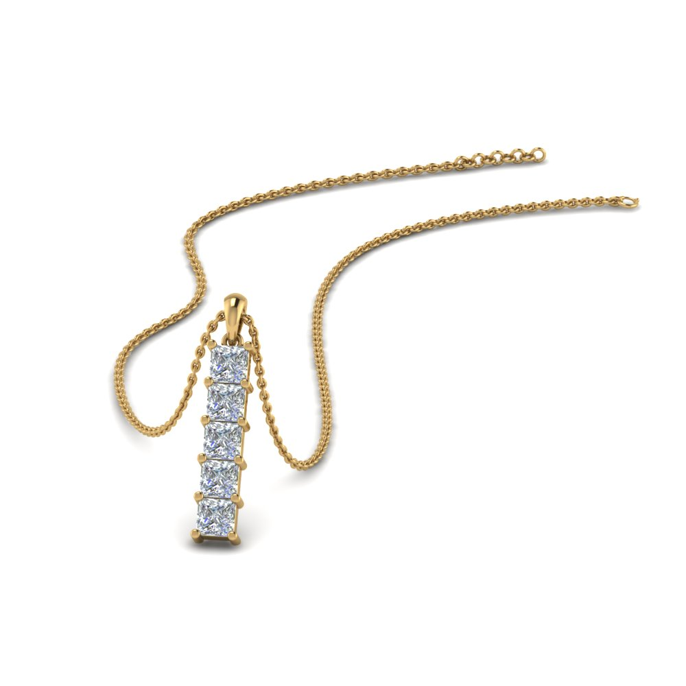 vertical name necklace gold long initial bar pendant products