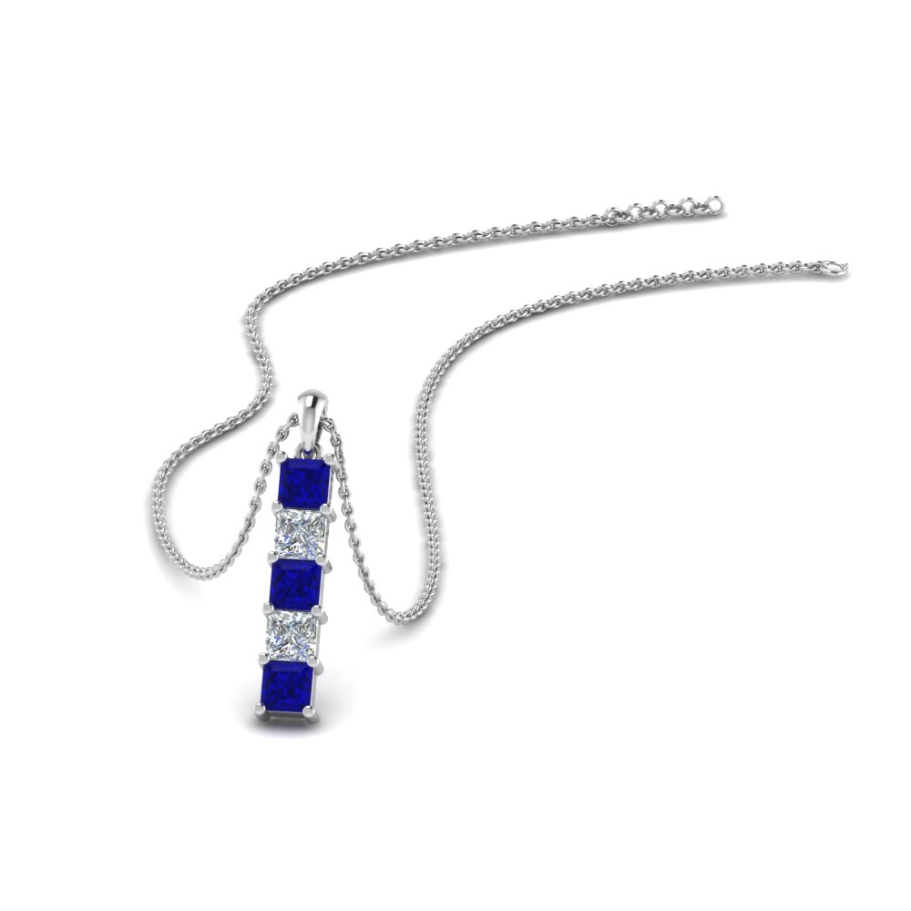 vertical princess  bar diamond pendant with blue sapphire in FDPD8411GSABL NL WG
