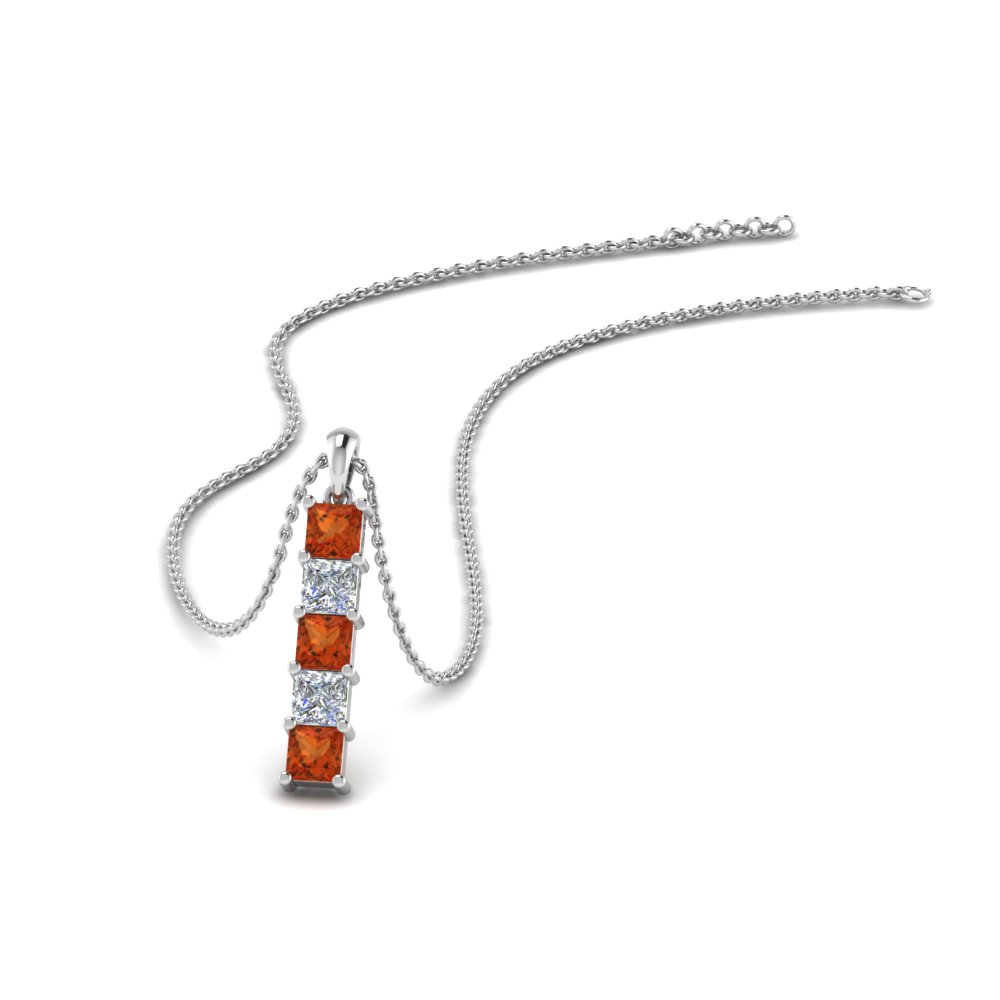 vertical princess bar diamond pendant with orange sapphire in FDPD8411GSAOR NL WG