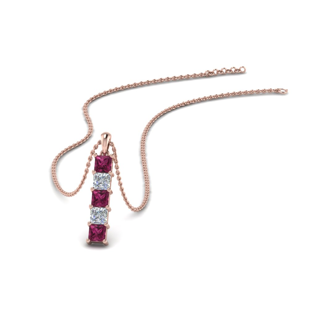 vertical princess bar diamond pendant with pink sapphire in FDPD8411GSADRPI NL RG