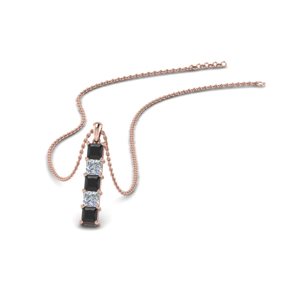 vertical princess bar pendant with black diamond in FDPD8411GBLACK NL RG