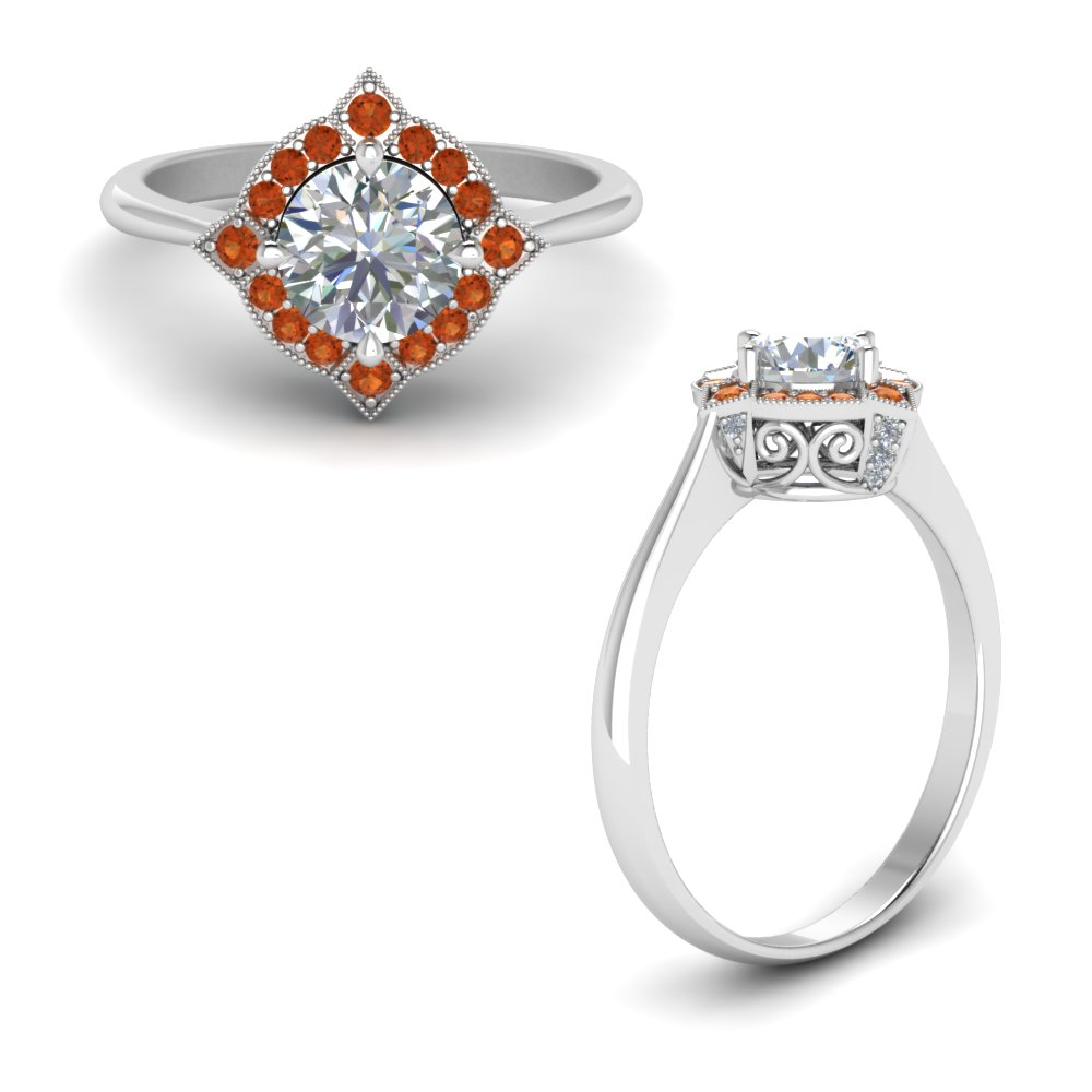 victorian halo diamond engagement ring with orange sapphire in FD9226RORGSAORANGLE1 NL WG