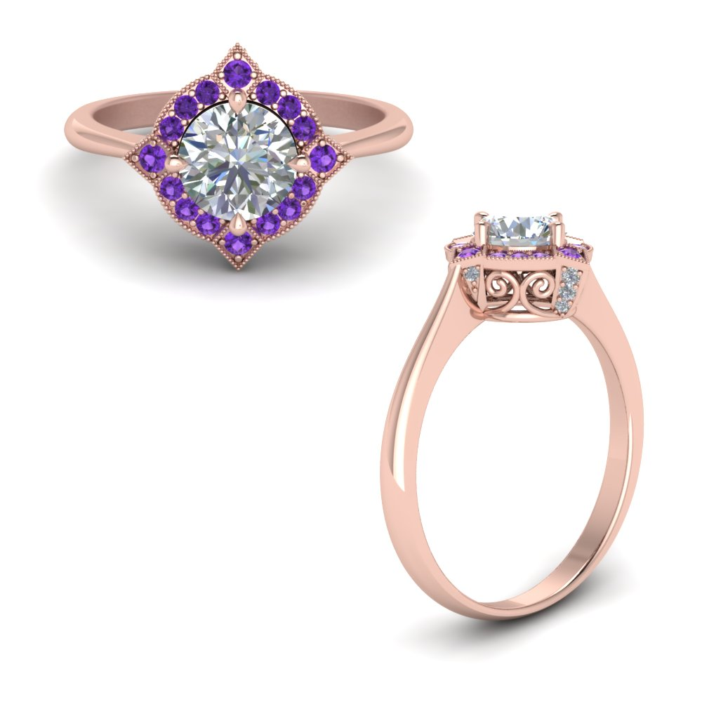 victorian halo diamond engagement ring with purple topaz in FD9226RORGVITOANGLE1 NL RG