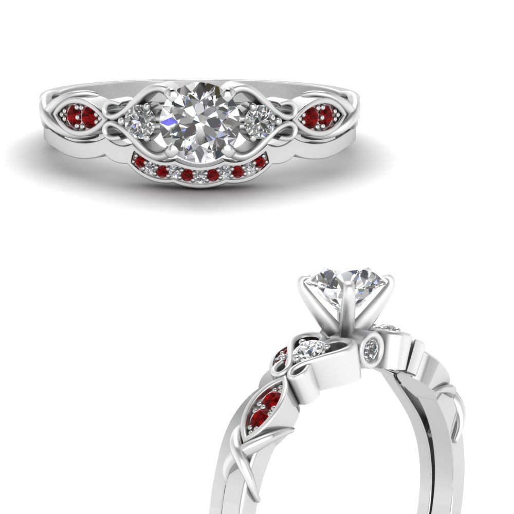 victorian style diamond bridal set with ruby in FDO50786ROGRUDRANGLE3 NL WG