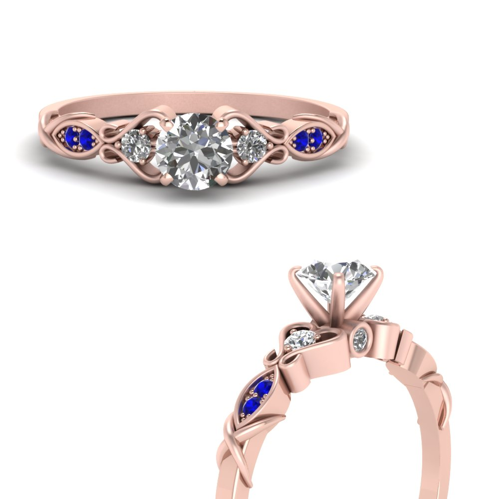 victorian style diamond engagement ring with sapphire in FDO50786RORGSABLANGLE3 NL RG