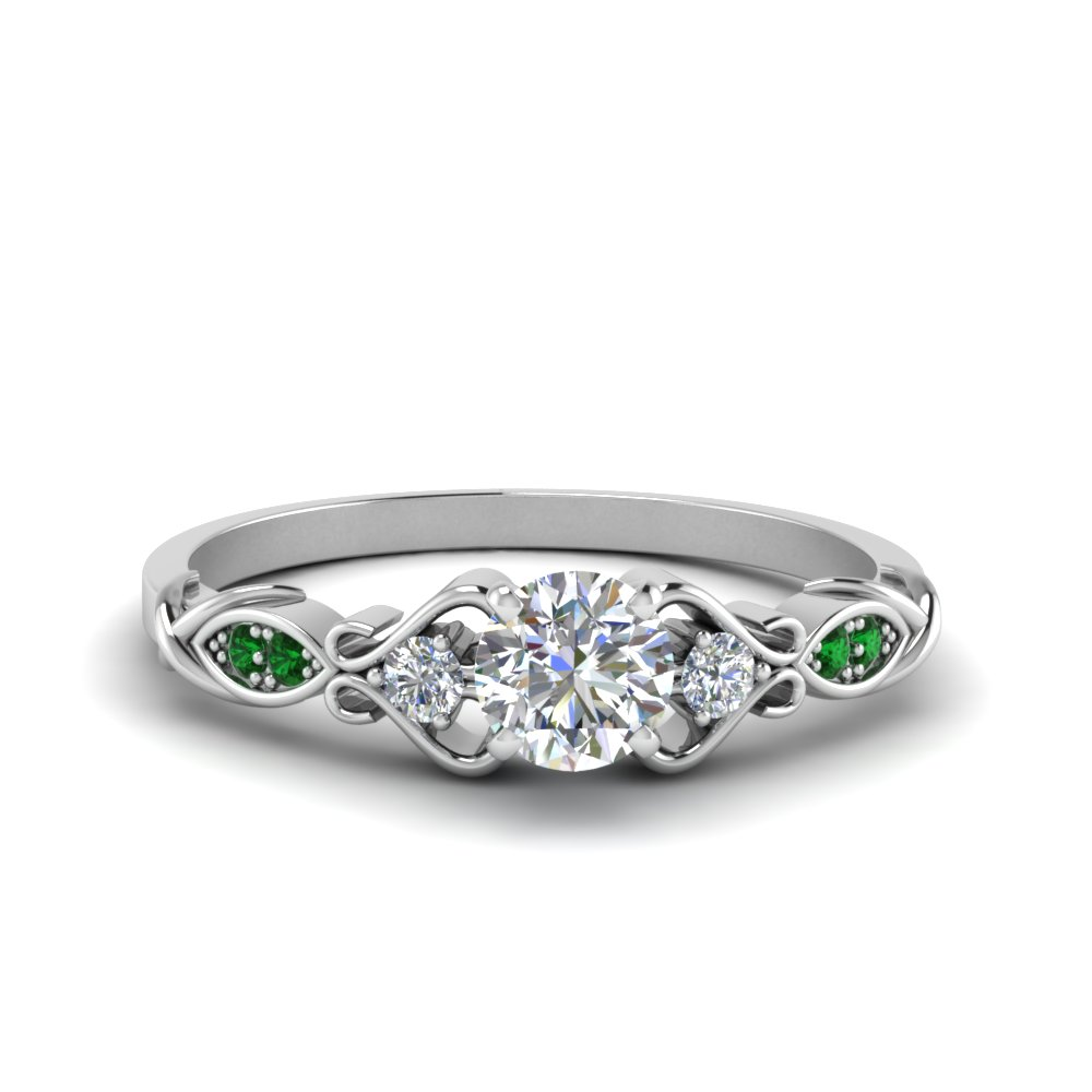 Victorian Style Round Cut Diamond Wedding Engagement Ring With Emerald In 18K White Gold