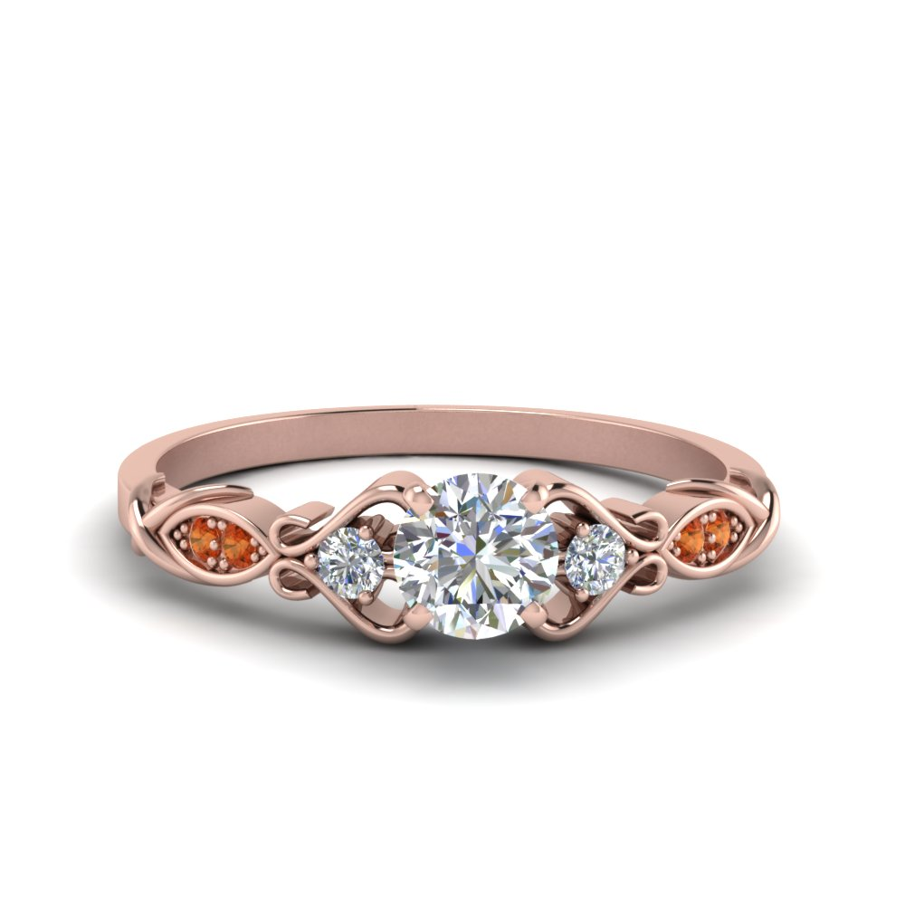 Victorian Style Round Cut Diamond Wedding Engagement Ring With Orange Sapphire In 14K Rose Gold
