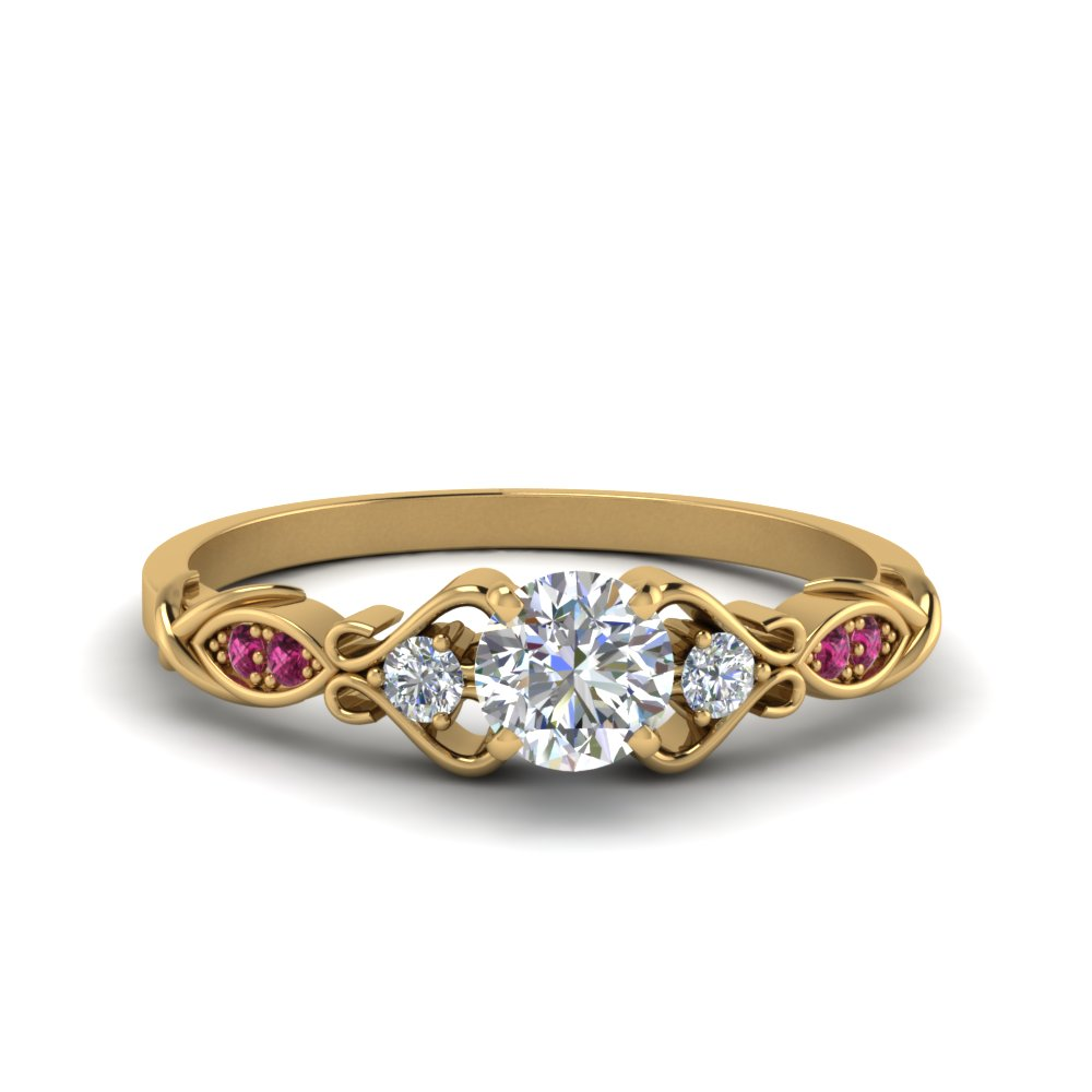 Victorian Style Round Cut Diamond Wedding Engagement Ring With Pink Sapphire In 14K Yellow Gold