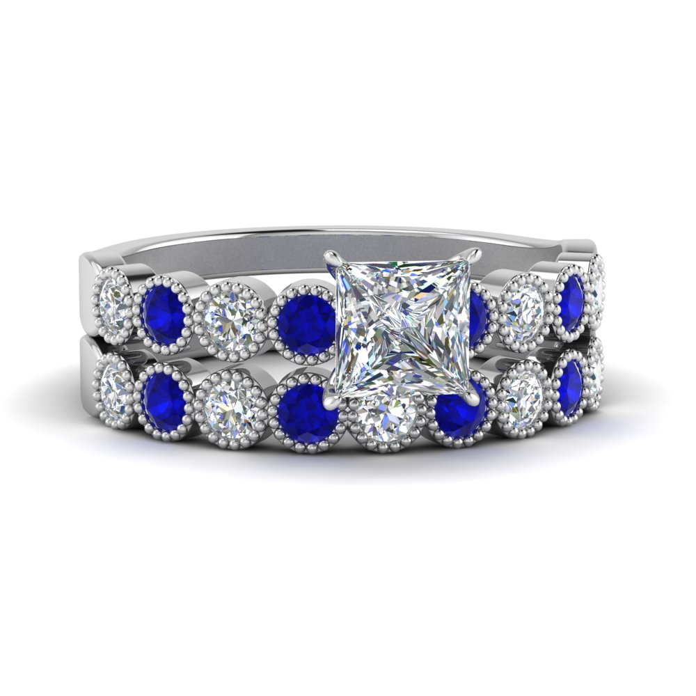 vintage-bezel-set-princess-cut-diamond-ring-and-band-with-sapphire-in-FD9337PRGSABL-NL-WG