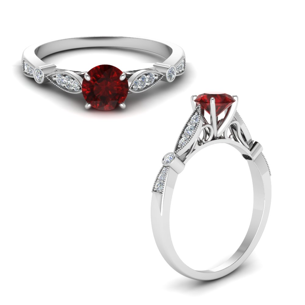 vintage cathedral ruby engagement ring in FD8593RORGRDANGLE1 NL WG