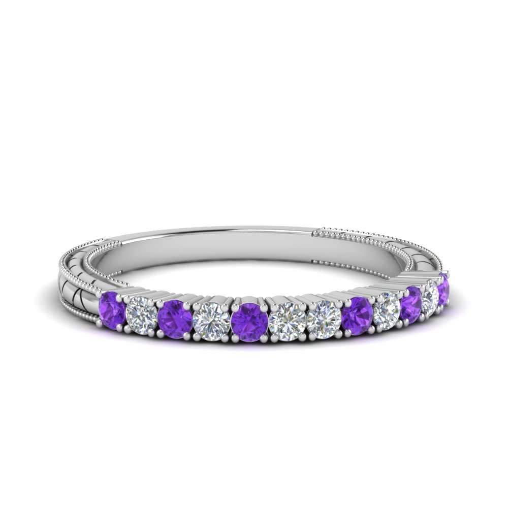 vintage delicate diamond wedding band with purple topaz in FDENS3228BGVITO NL WG.jpg