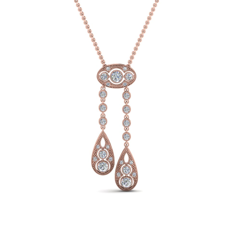 Vintage Diamond Dual Drop Pendant In 14K Rose Gold