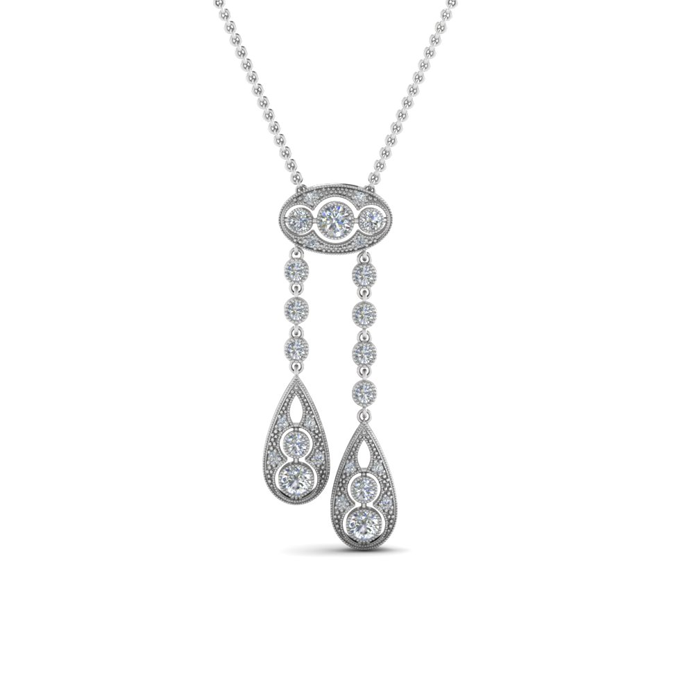 Milgrain Diamond Dual Drop Pendant