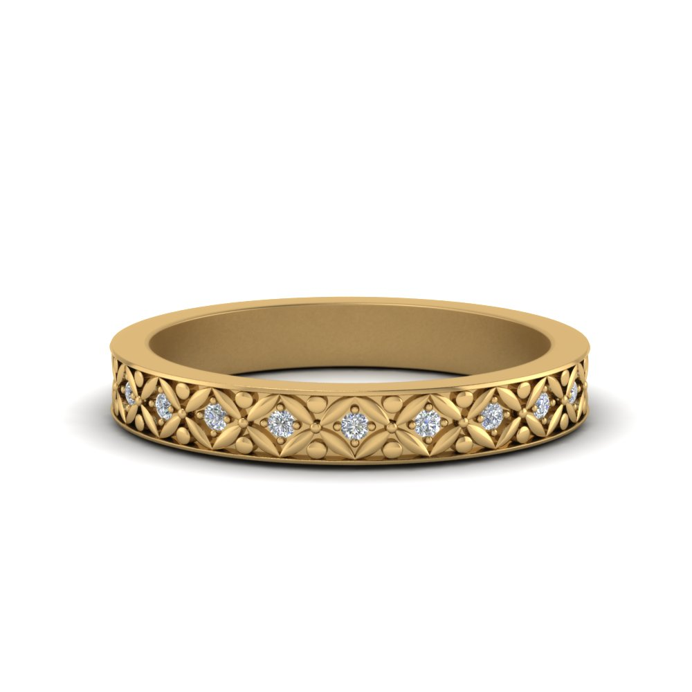 vintage diamond eternity band for her in 14K yellow gold FDEWB8646 NL YG