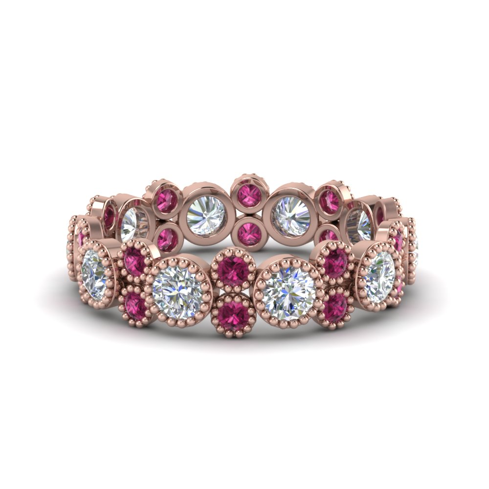 2 ct. vintage diamond eternity ring with pink sapphire in FDEWB2300GSADRPI NL RG