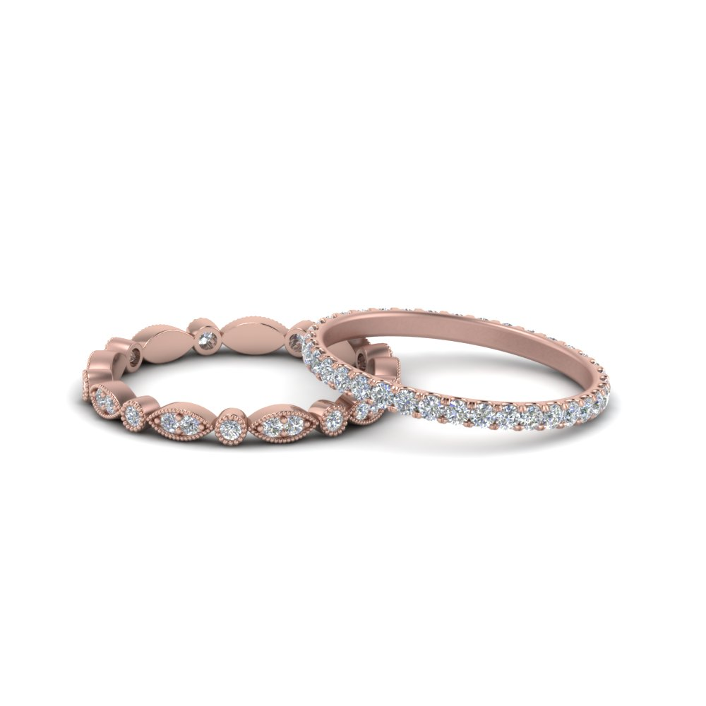 Vintage Diamond Stackable Wedding Rings In 18K Rose Gold