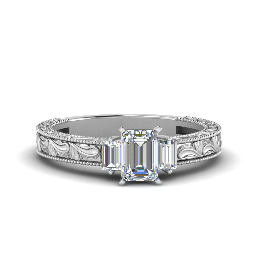 and with gold rings center stones cut tapered stone engagement baguette diamond in ring asscher ascher three side white