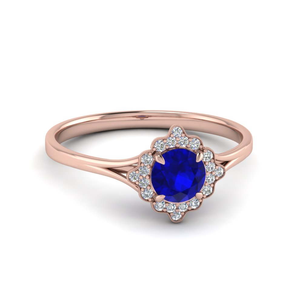 vintage halo sapphire engagement ring in 14k rose gold