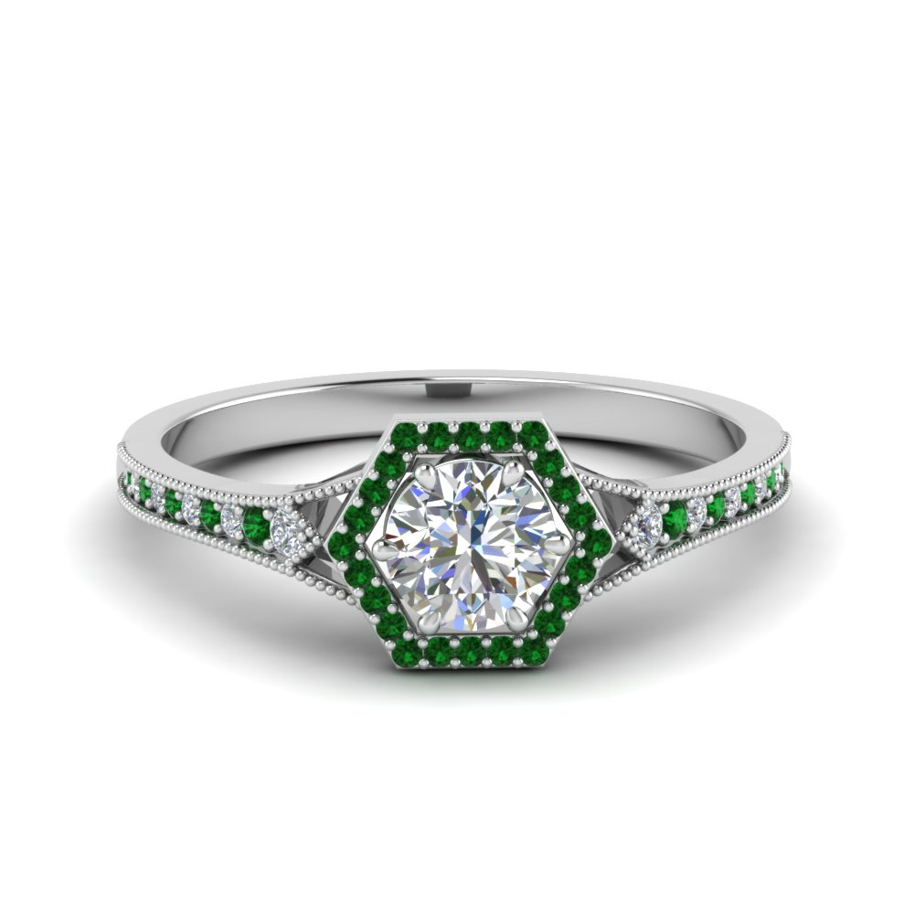 vintage-hexagon-halo-diamond-engagement-ring-with-emerald-in-FD8694RORGEMGR-NL-WG