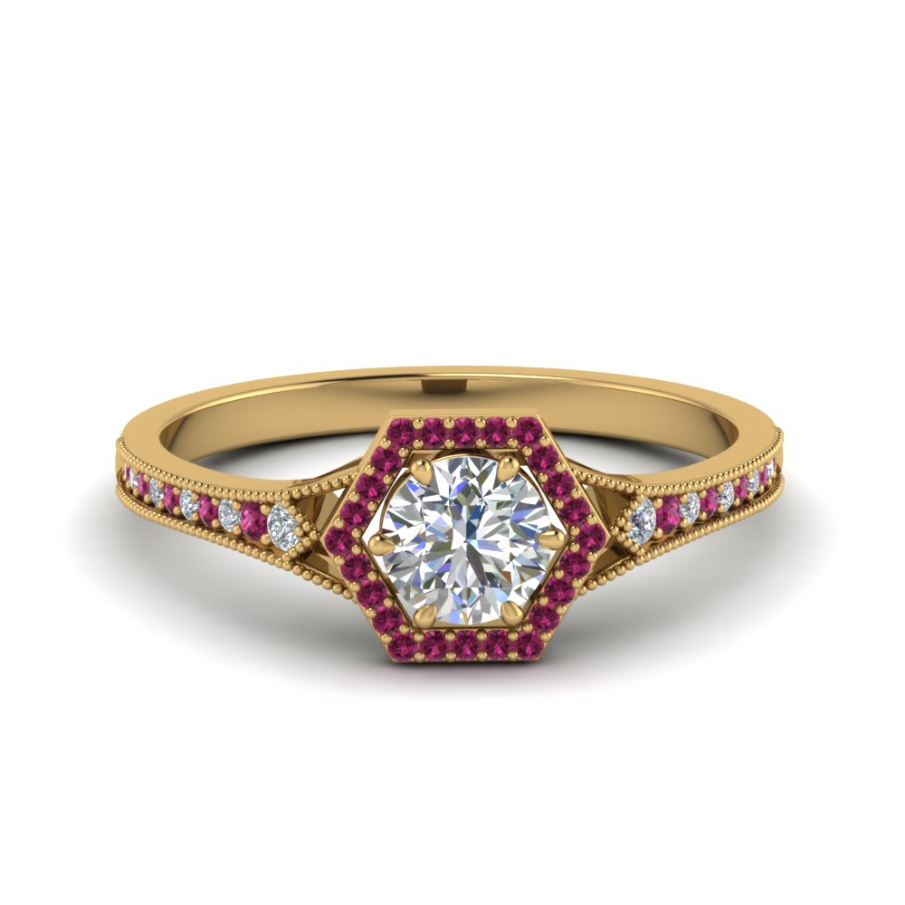 vintage-hexagon-halo-diamond-engagement-ring-with-pink-sapphire-in-FD8694RORGSADRPI-NL-YG