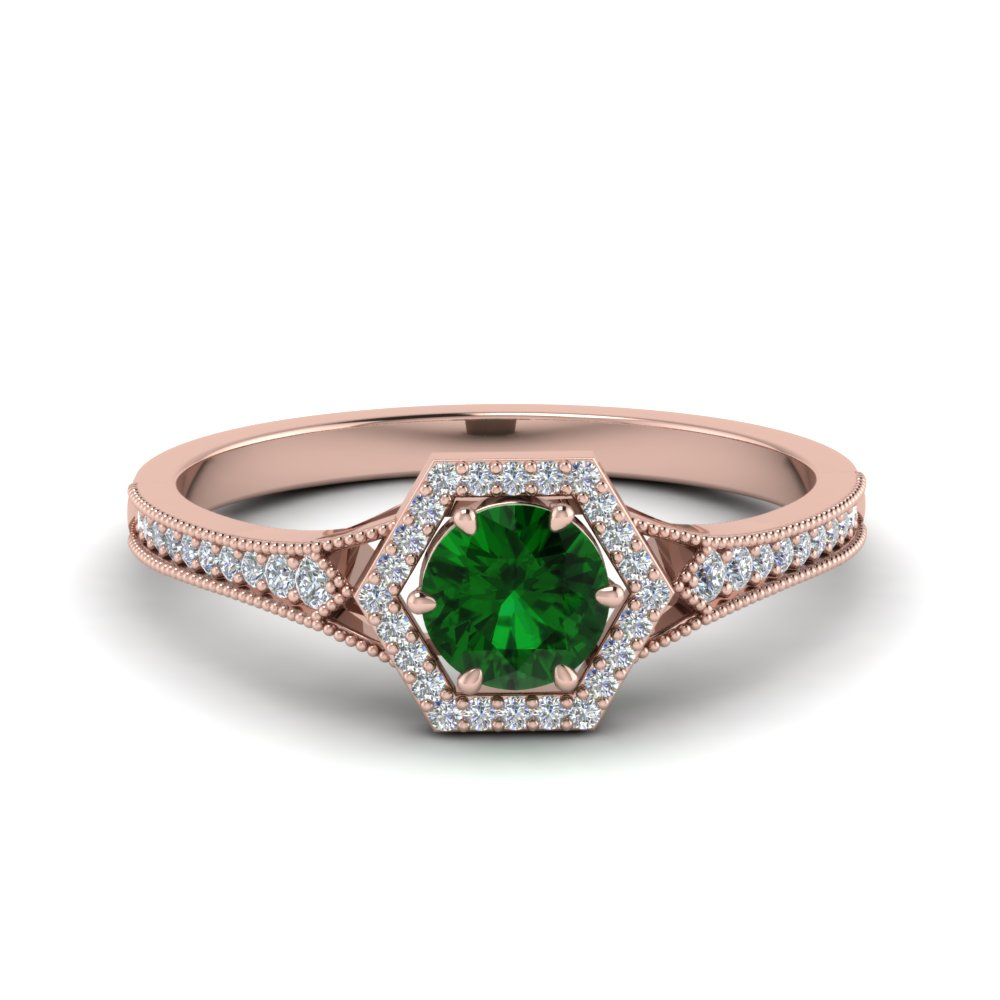 vintage hexagon halo diamond wedding ring with emerald in FD8694RORGEM NL RG.jpg