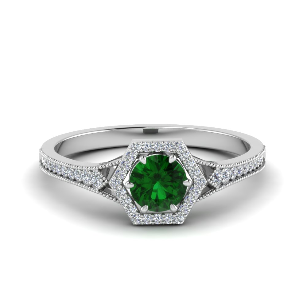 vintage hexagon halo diamond wedding ring with emerald in FD8694RORGEM NL WG.jpg