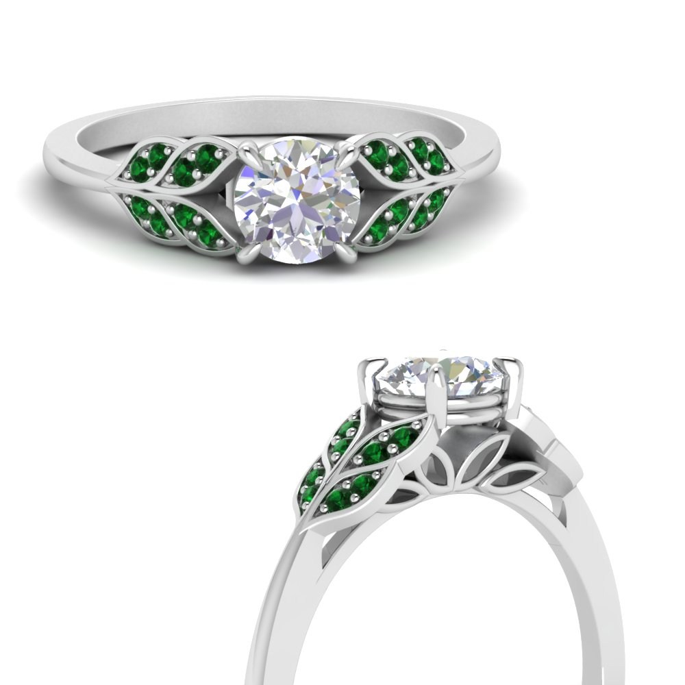 vintage leaf design round cut diamond engagement ring with emerald in FD8240RORGEMGRANGLE3 NL WG