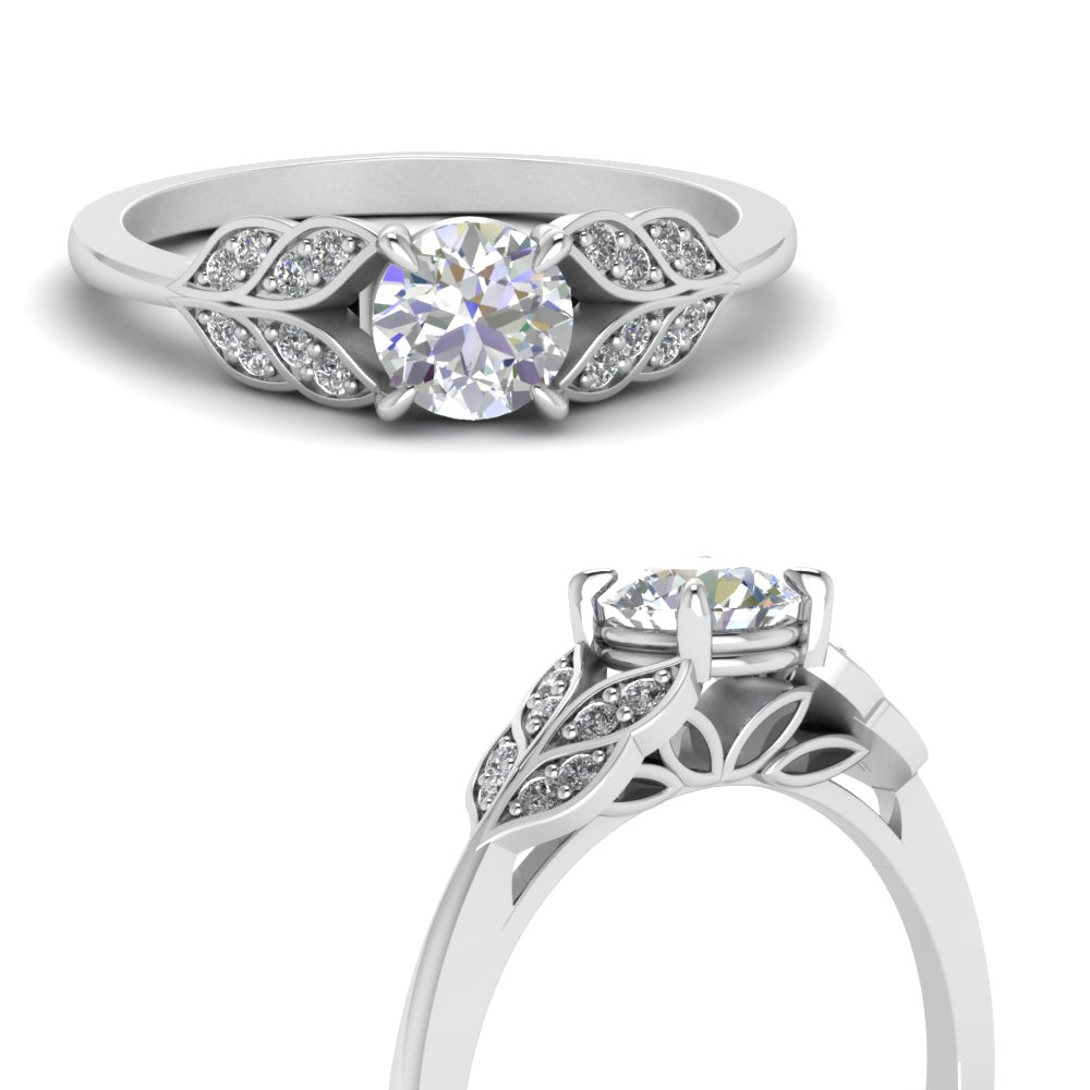 round cut vintage leaf diamond engagement ring in FD8240RORANGLE3 NL WG