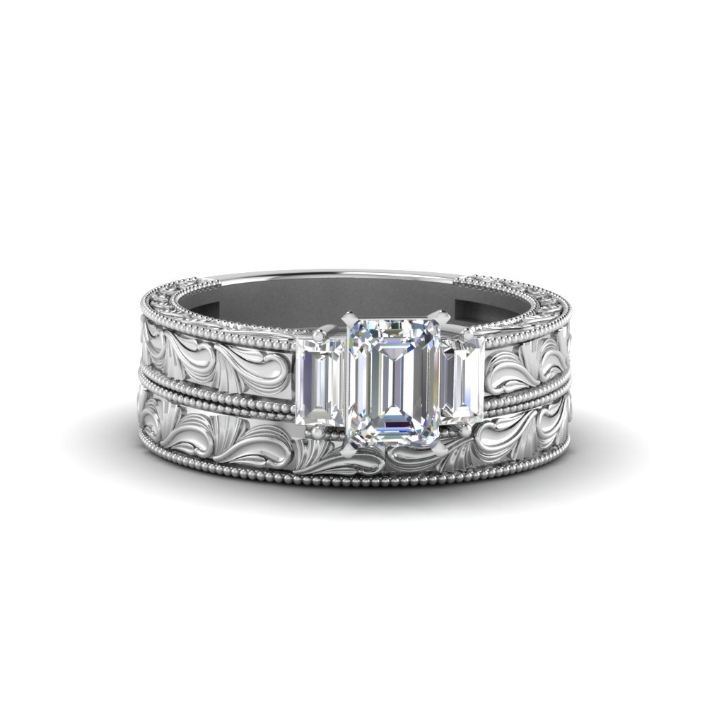 Emerald Cut Diamond Hand Engraved 3 Stone Bridal Set