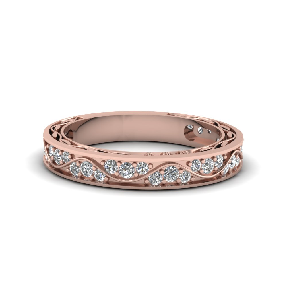 Vintage Pave Diamond Wedding Ring For Women In 18k Rose Gold Fdens3543b Nl Rg: Simple Unique Wedding Bands For Women At Websimilar.org