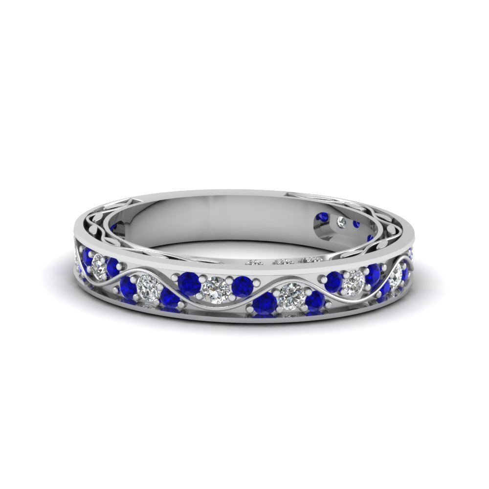 vintage pave diamond wedding ring for women with sapphire in 18K white gold FDENS3543BGSABL NL WG