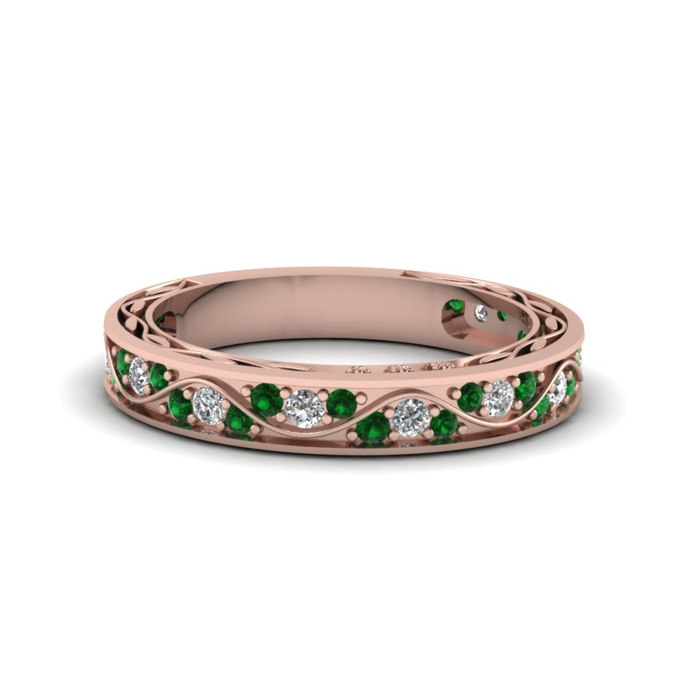 vintage pave diamond wedding ring for women with emerald in 14K rose gold FDENS3543BGEMGR NL RG