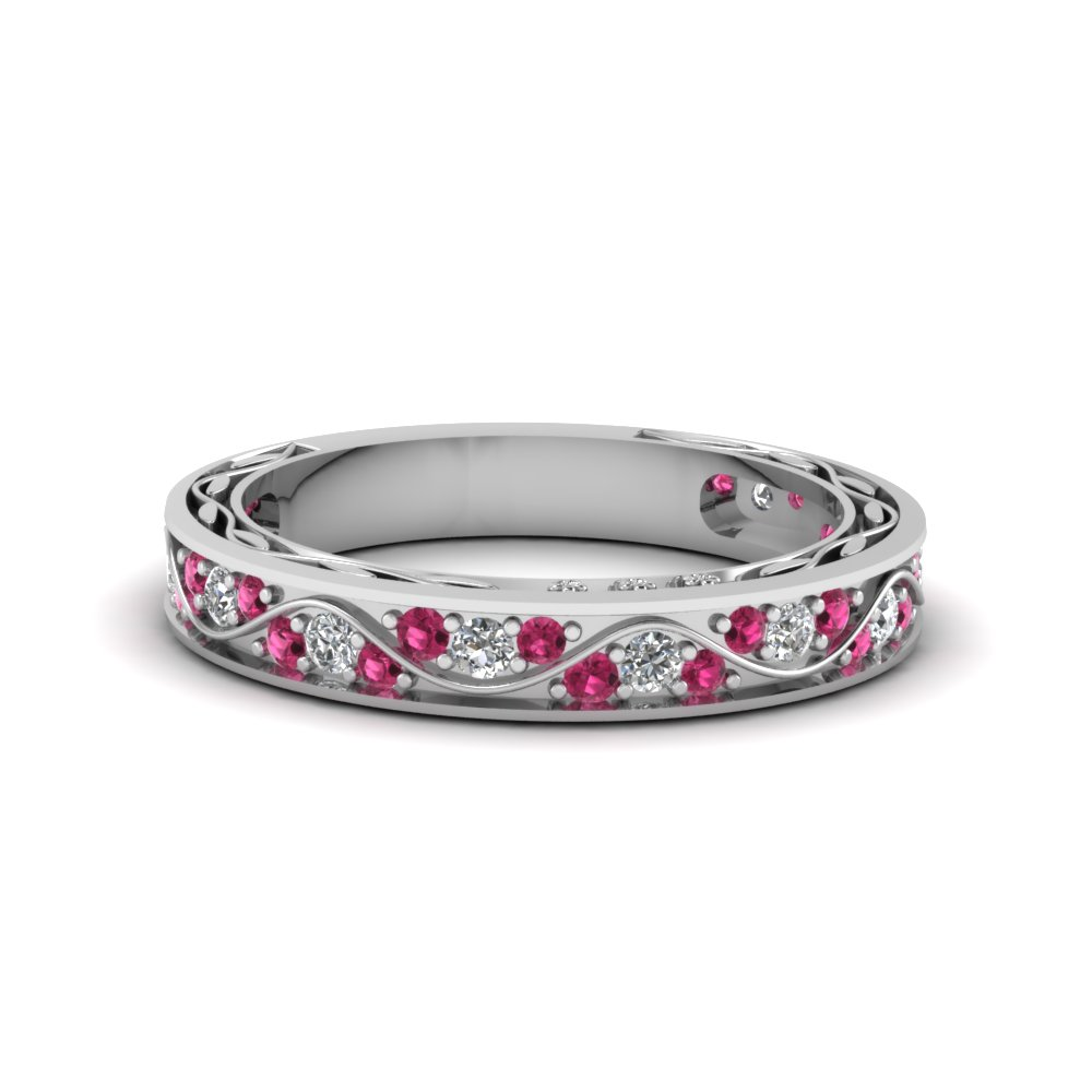 Vintage Looking Pave Diamond Wedding Ring For Women With Pink Shire In 14k White Gold Fdens3543bgsadrpi