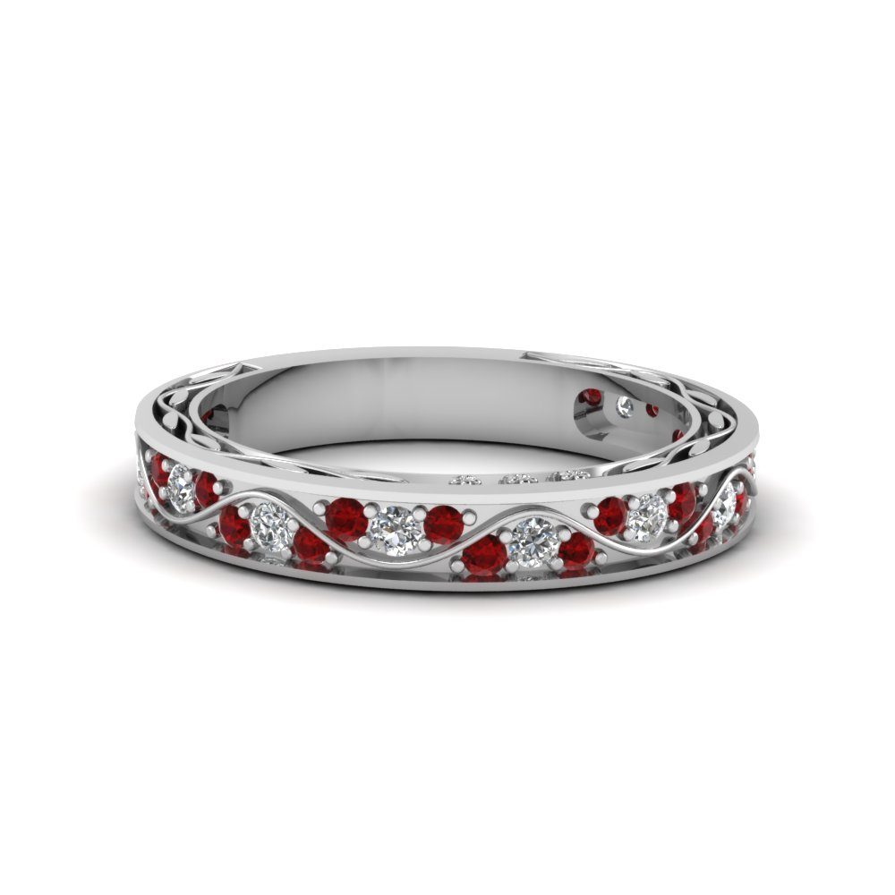 vintage pave diamond wedding ring for women with ruby in 14K white gold FDENS3543BGRUDR NL WG