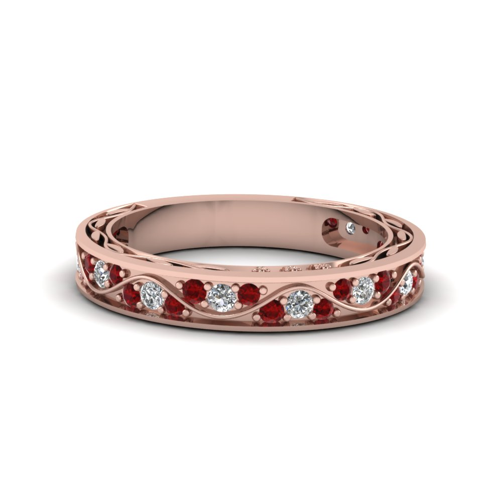 Pave Accent Ruby Wedding Band
