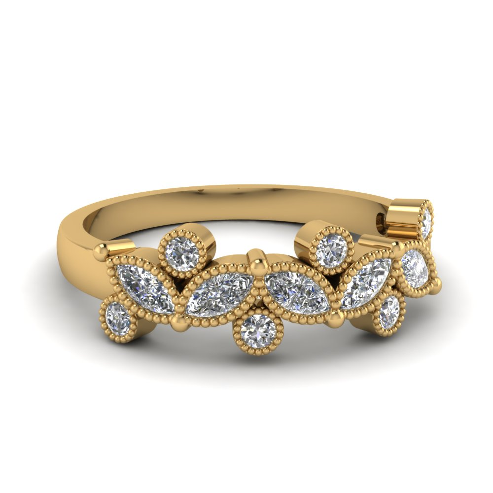 Round And Marquise Diamond Band