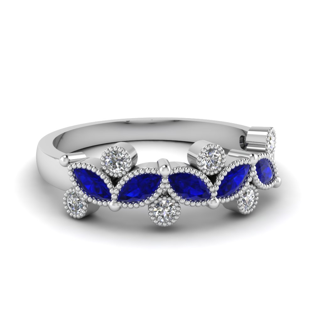 Sapphire Marquise Diamond Band 0.50 Ct.