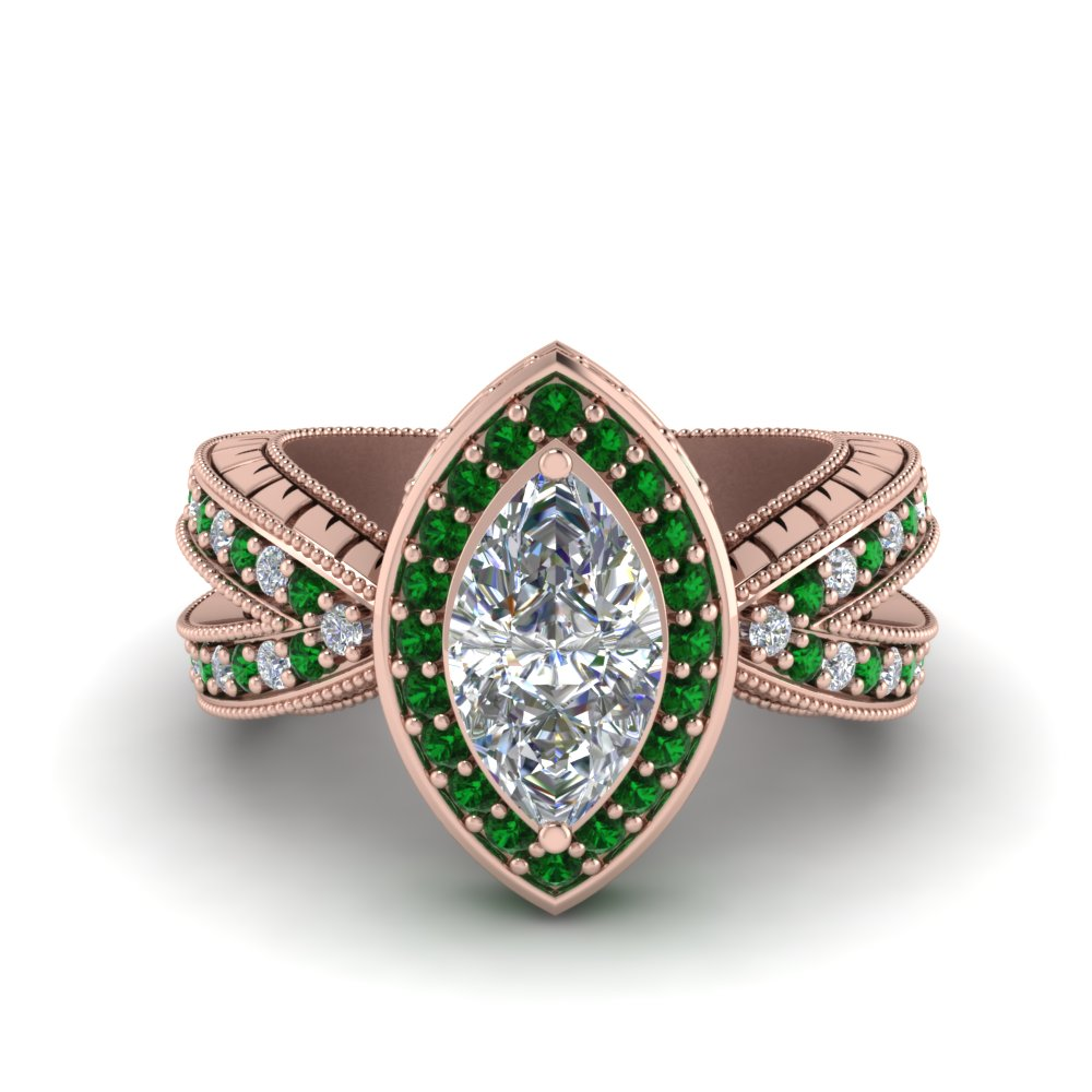 vintage marquise halo diamond engagement ring with emerald in FD8753MQRGEMGR NL RG.jpg