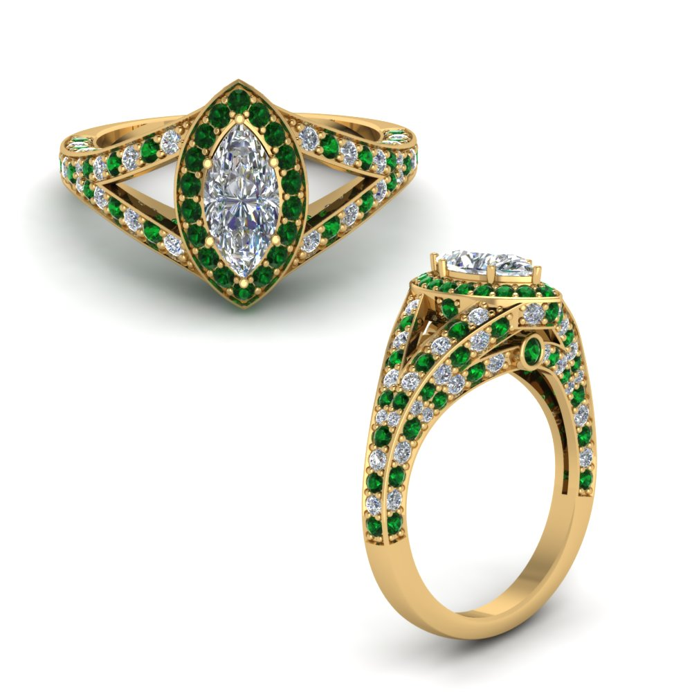 Marquise Shaped Green Emerald Rings