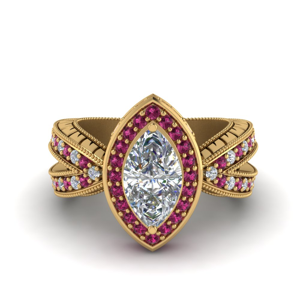 vintage marquise halo diamond engagement ring with pink sapphire in FD8753MQRGSADRPI NL YG.jpg